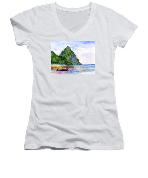 St. Lucia Women's V-Neck T-Shirt (Junior Cut) by John D Benson