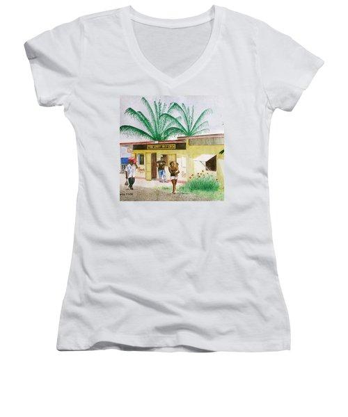 St. Lucia Store Women's V-Neck T-Shirt (Junior Cut) by Frank Hunter