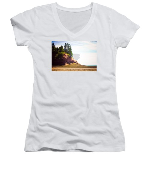 St. Martin's Sea Caves Women's V-Neck T-Shirt (Junior Cut) by Sara Frank