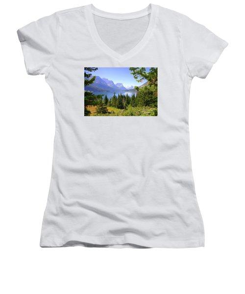 St. Mary Lake Women's V-Neck T-Shirt (Junior Cut) by Bob Hislop