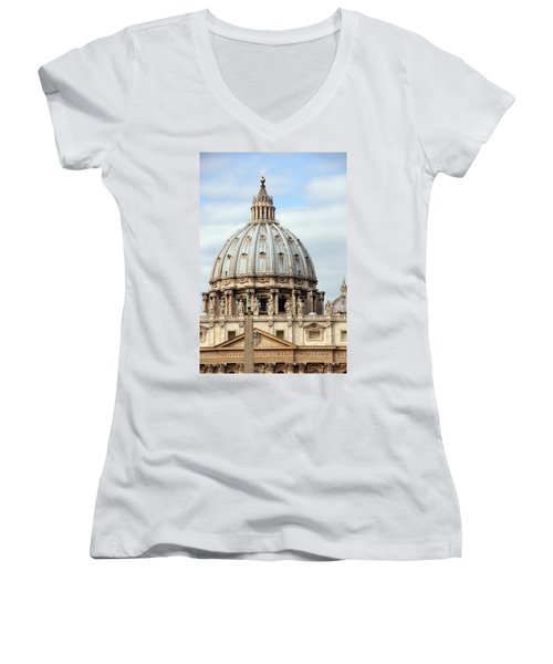 St. Peters Basilica Women's V-Neck T-Shirt (Junior Cut) by Debi Demetrion