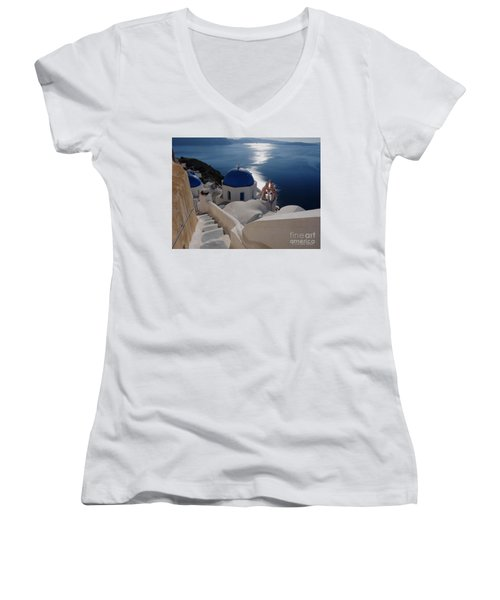 Stairway To The Blue Domed Church Women's V-Neck T-Shirt (Junior Cut) by Lucinda Walter