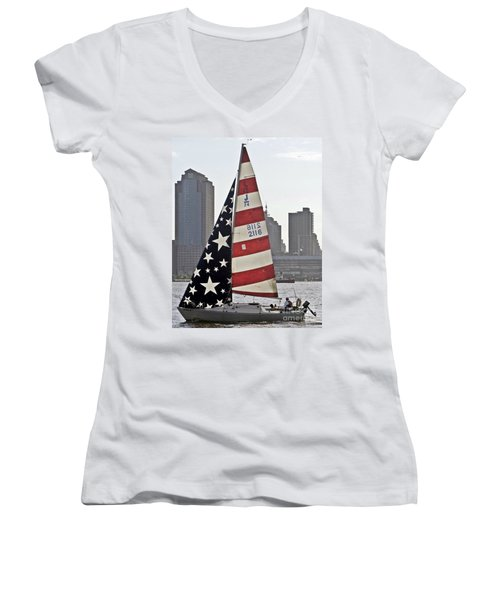 Women's V-Neck T-Shirt (Junior Cut) featuring the photograph Star Spangled Sail  by Lilliana Mendez