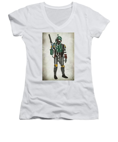 Star Wars Inspired Boba Fett Typography Artwork Women's V-Neck T-Shirt (Junior Cut) by Ayse Deniz
