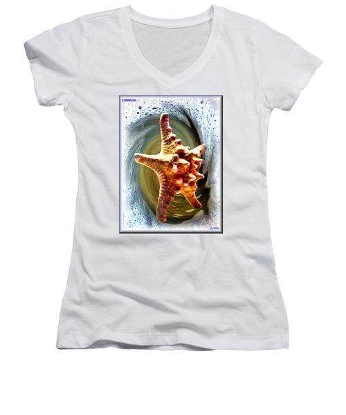 Women's V-Neck T-Shirt (Junior Cut) featuring the digital art Starfish by Daniel Janda