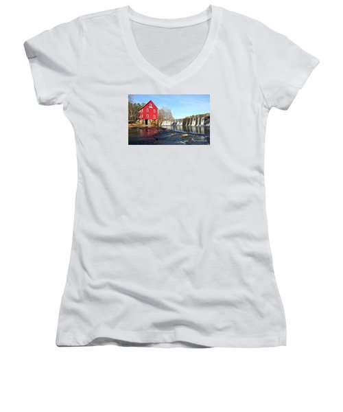 Women's V-Neck T-Shirt (Junior Cut) featuring the photograph Starr's Mill In Senioa Georgia 3 by Donna Brown