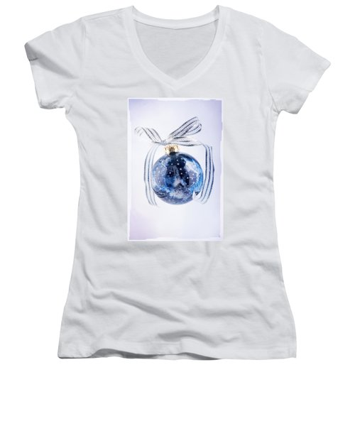 Christmas Ornament With Stars Women's V-Neck T-Shirt (Junior Cut) by Vizual Studio