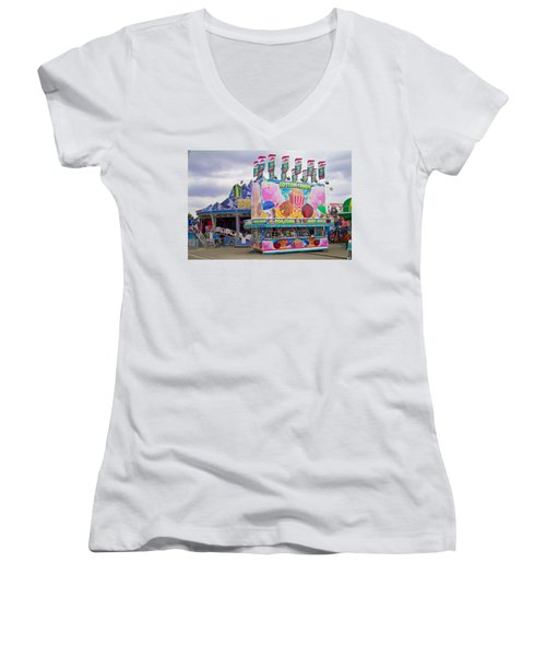 Women's V-Neck T-Shirt (Junior Cut) featuring the photograph State Fair by Steven Bateson