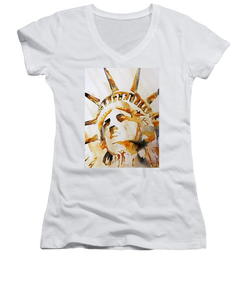 Statue Of Liberty Closeup Women's V-Neck (Athletic Fit)