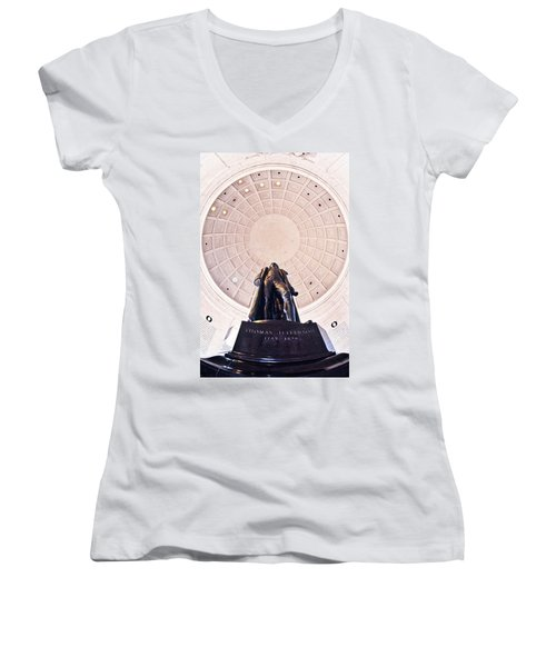 Statue Of Thomas Jefferson Women's V-Neck T-Shirt (Junior Cut) by Panoramic Images