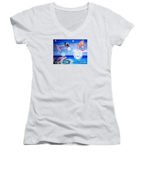 Stay And Play Women's V-Neck T-Shirt