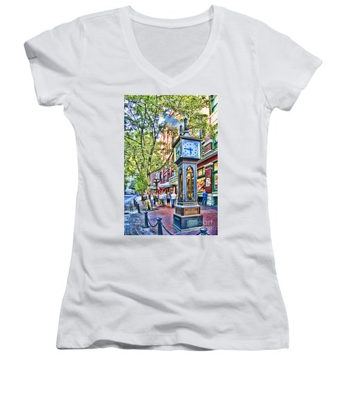 Steam Clock In Vancouver Gastown Women's V-Neck (Athletic Fit)