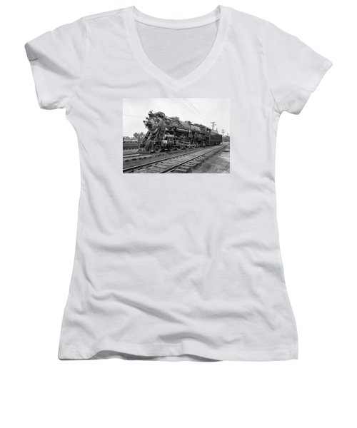 Steam Locomotive Crescent Limited C. 1927 Women's V-Neck (Athletic Fit)