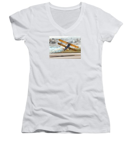 Stearman Model 75 Biplane Women's V-Neck T-Shirt