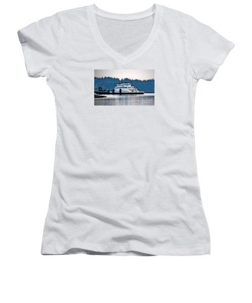 Steilacoom Ferry At Dusk Women's V-Neck T-Shirt (Junior Cut) by Chris Anderson