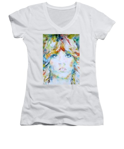 Stevie Nicks - Watercolor Portrait Women's V-Neck T-Shirt (Junior Cut) by Fabrizio Cassetta