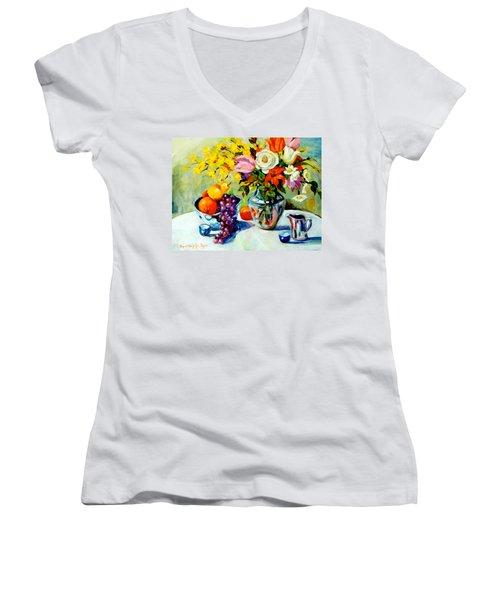 Still Life Creamer Women's V-Neck T-Shirt (Junior Cut) by Alexandra Maria Ethlyn Cheshire