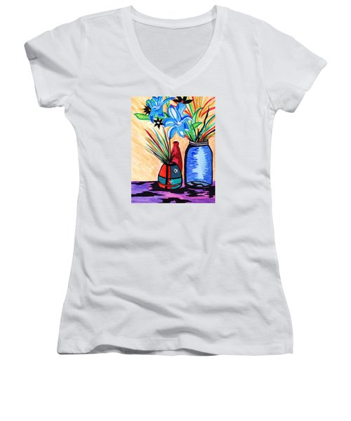 Still Life Flowers Women's V-Neck T-Shirt