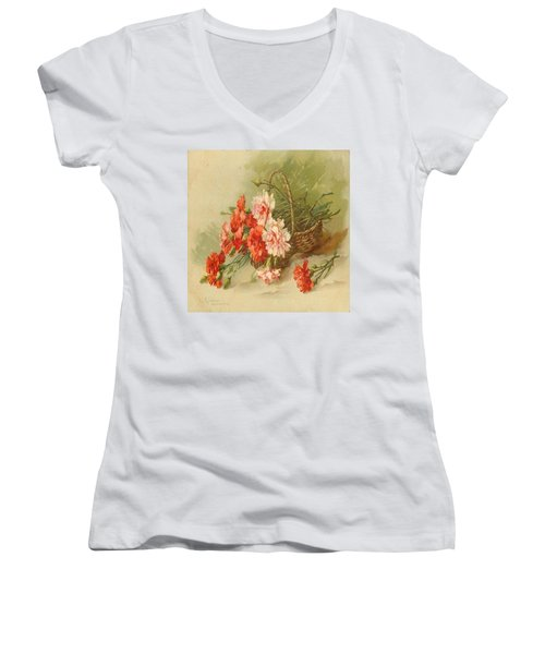 Still Life Of Flowers Women's V-Neck (Athletic Fit)