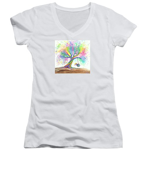Still More Rainbow Tree Dreams Women's V-Neck T-Shirt (Junior Cut) by Nick Gustafson