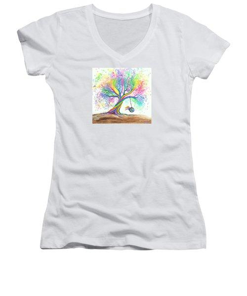 Still More Rainbow Tree Dreams Women's V-Neck (Athletic Fit)