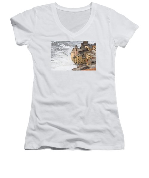 Women's V-Neck T-Shirt (Junior Cut) featuring the photograph Storm In Camogli by Antonio Scarpi