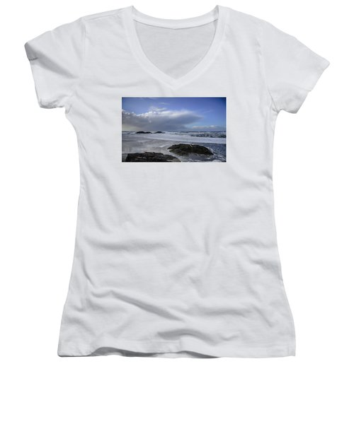 Storm Rolling In Wickaninnish Beach Women's V-Neck T-Shirt (Junior Cut) by Roxy Hurtubise
