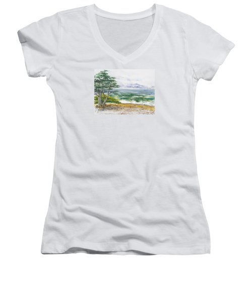 Stormy Morning At Carmel By The Sea California Women's V-Neck
