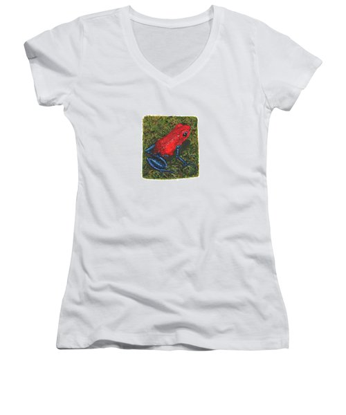Strawberry Poison Dart Frog Women's V-Neck T-Shirt (Junior Cut) by Cindy Hitchcock