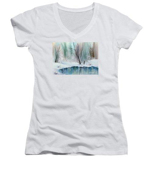 Stream Cove In Winter Women's V-Neck T-Shirt (Junior Cut) by Teresa Ascone