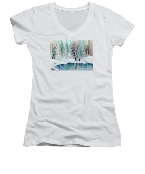 Stream Cove In Winter Women's V-Neck T-Shirt