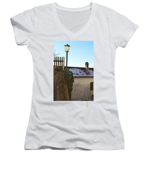 Women's V-Neck T-Shirt (Junior Cut) featuring the photograph Street Lamp At The Castle  by Felicia Tica