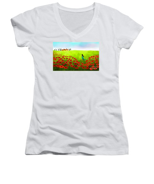 Strolling Among The Red Poppies Women's V-Neck (Athletic Fit)