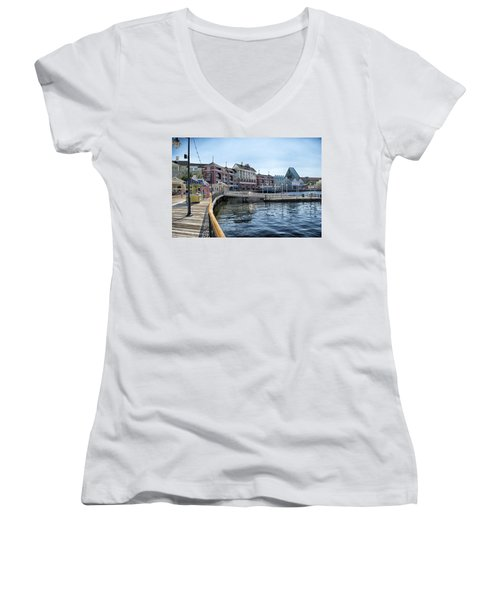 Strolling On The Boardwalk At Disney World Women's V-Neck (Athletic Fit)