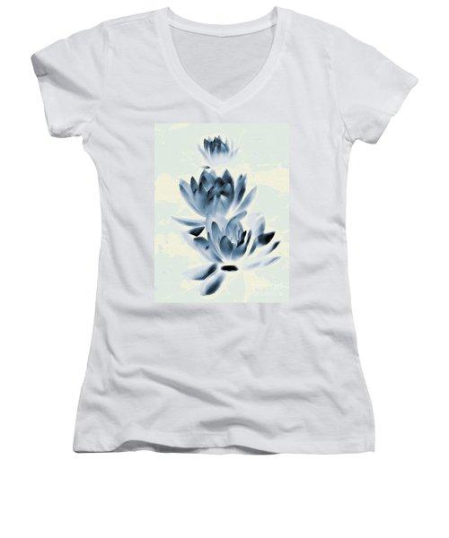 Study In Blue Women's V-Neck T-Shirt (Junior Cut) by Andrea Kollo