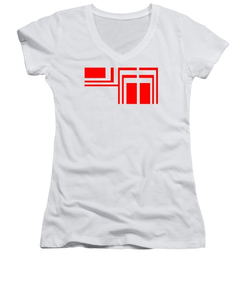 Study In White And Red Women's V-Neck T-Shirt (Junior Cut) by Cletis Stump