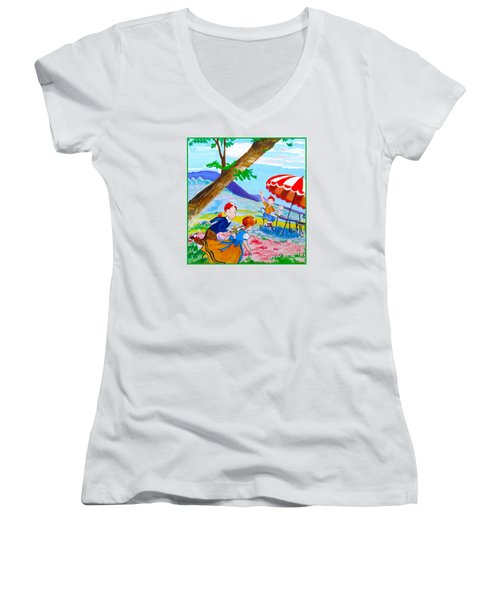 Women's V-Neck T-Shirt (Junior Cut) featuring the painting Sugarland Vintage by Beth Saffer