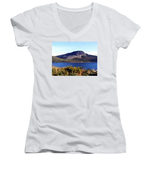 Sugarloaf Hill In Summer Women's V-Neck T-Shirt (Junior Cut) by Barbara Griffin