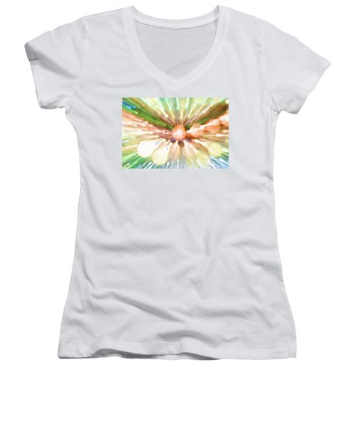 Women's V-Neck T-Shirt (Junior Cut) featuring the photograph Suicide Blonde by Dazzle Zazz
