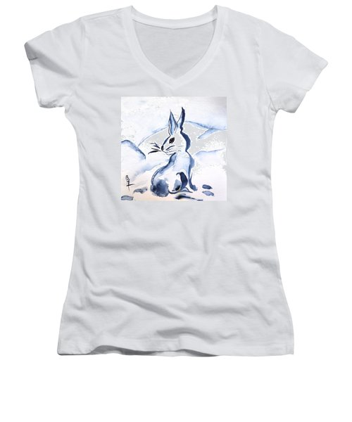 Sumi-e Snow Bunny Women's V-Neck (Athletic Fit)