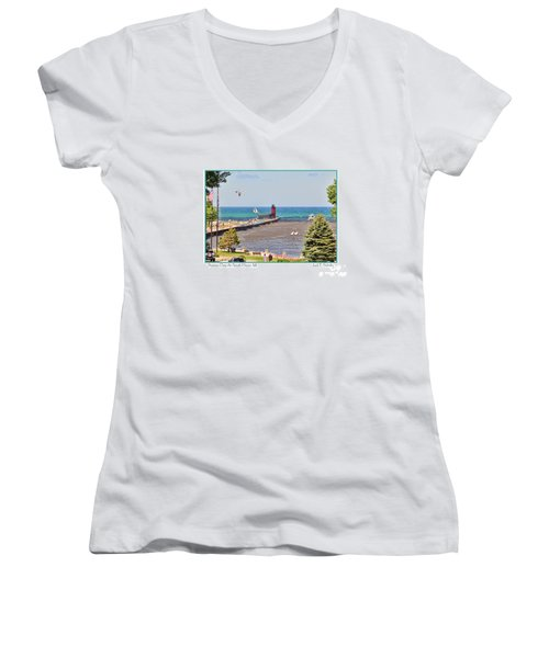 Summer Day At South Haven Mi Women's V-Neck (Athletic Fit)