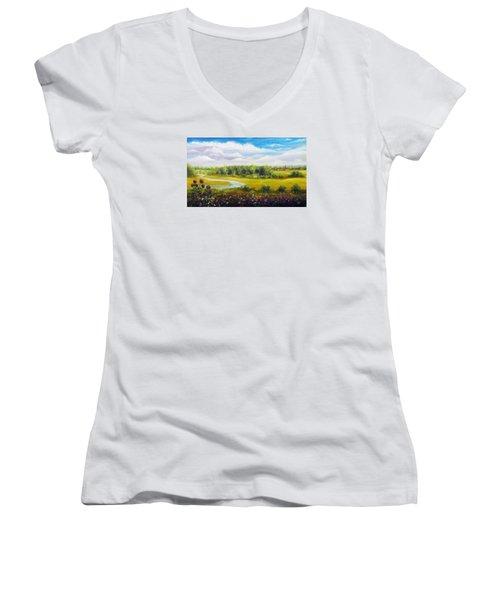 Summer Day Women's V-Neck T-Shirt (Junior Cut) by Vesna Martinjak