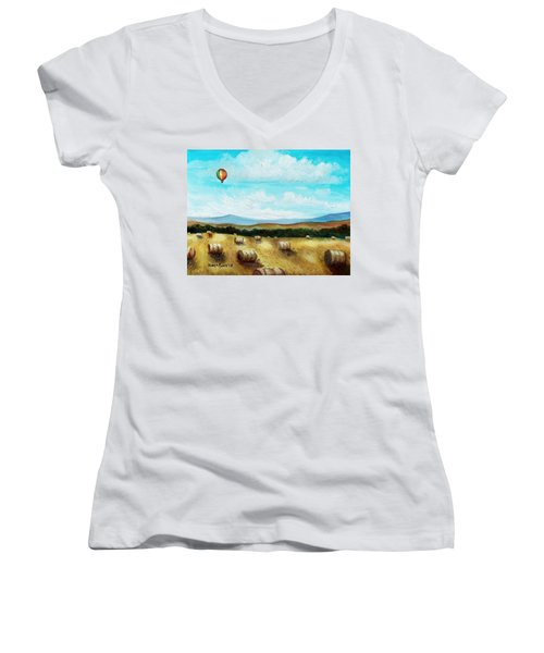 Summer Flight 3 Women's V-Neck T-Shirt (Junior Cut) by Shana Rowe Jackson