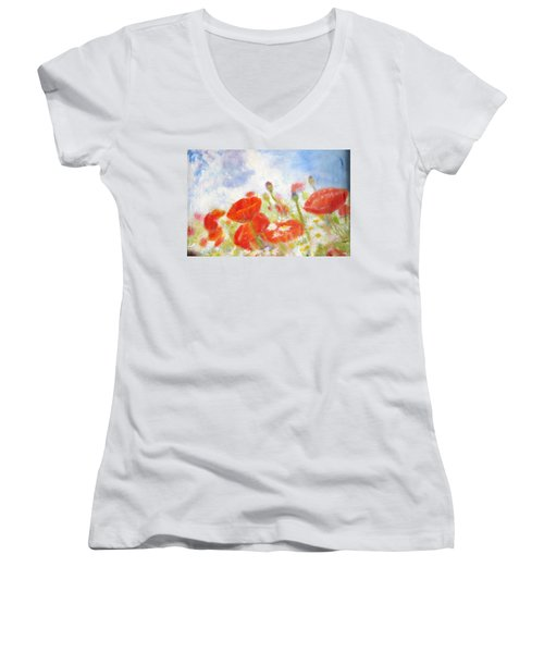 Summer Flowers Women's V-Neck (Athletic Fit)
