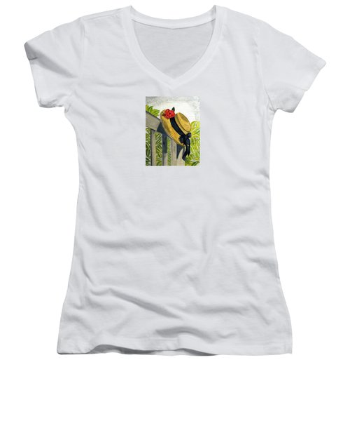 Women's V-Neck T-Shirt (Junior Cut) featuring the painting Summer Hat by Angela Davies