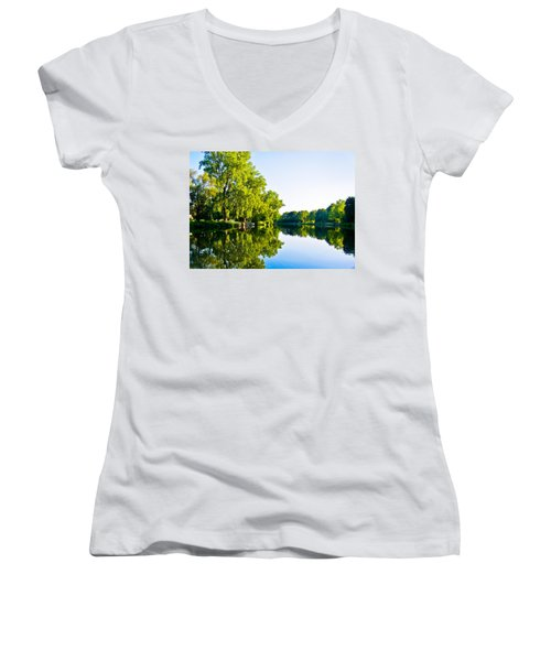 Women's V-Neck T-Shirt (Junior Cut) featuring the photograph Summer Reflections by Sara Frank