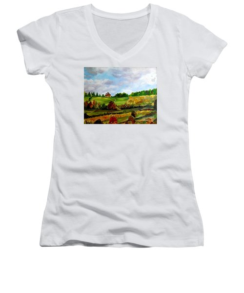 Women's V-Neck T-Shirt (Junior Cut) featuring the painting Summer's End by Julie Brugh Riffey