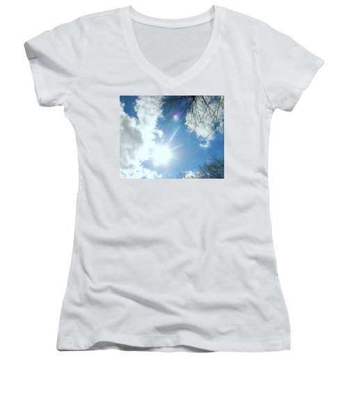 Women's V-Neck T-Shirt (Junior Cut) featuring the photograph Sun Burst by Pamela Hyde Wilson