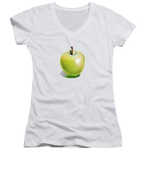 Sun Kissed Green Apple Women's V-Neck T-Shirt (Junior Cut) by Irina Sztukowski