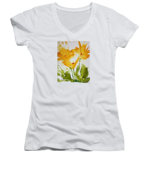 Sun Splashed Poppies Women's V-Neck T-Shirt